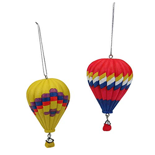 Midwest Gloves Set of 2 Red and Yellow Hot Air Balloon Christmas Ornaments 3.25