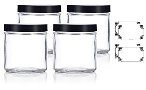 Large Clear Thick Glass Straight Sided Jar - 16 oz / 480 ml (4 Pack) + Labels