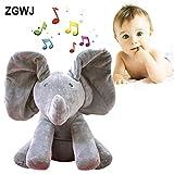 ZGWJ Plush Toy peek-a-Boo Elephant, Hide and Seek Game Baby Animated Flappy The Elephant Plush Toy Singing Stuffed Animals for Boys & Girls (Gray) … (peek-a-Boo Elephant)