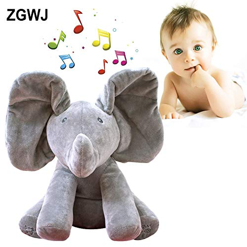 (ZGWJ Plush Toy peek-a-Boo Elephant, Hide and Seek Game Baby Animated Flappy The Elephant Plush Toy Singing Stuffed Animals for Boys & Girls (Gray) … (peek-a-Boo Elephant))