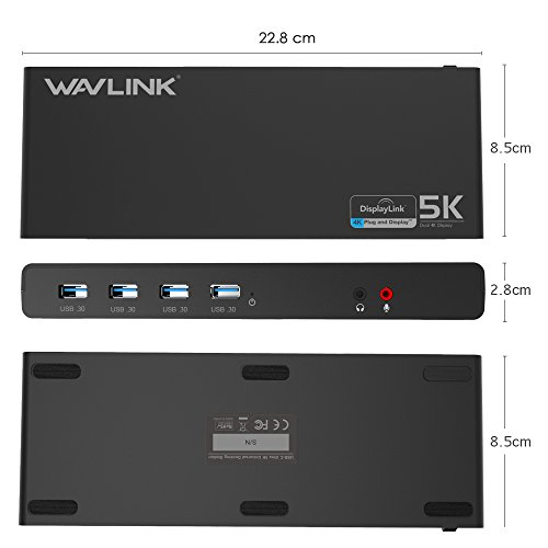 Wavlink Universal USB-C Ultra 5K Docking Station with 4K Dual Video Outputs and Support for Mac,Windows 7/ 8/ 8.1/ 10(USB-C in,DP and HDMI,Gigabit Ethernet,Audio out and Mic in,6 USB 3.0 Port) by WAVLINK (Image #7)
