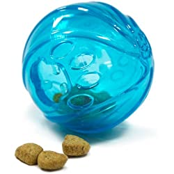Outward Hound Kyjen 41011 Treat Ball Hide A Treat Puzzle Ball Rubber Dog Treat Toy, Blue