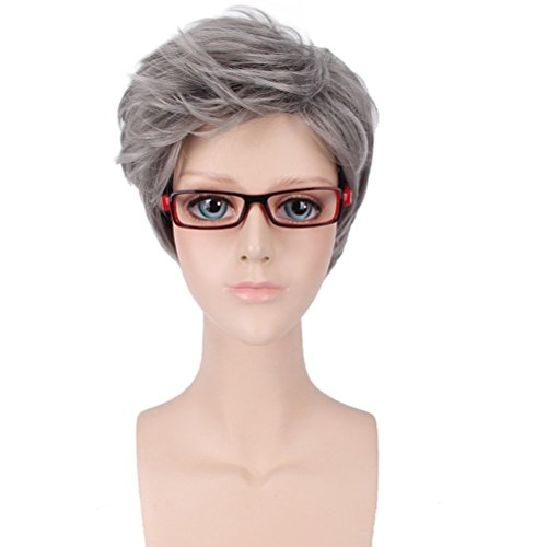 BERON New Fashion Cool Mans Boys Short Wig with Wig Cap (Milk Grey)]()