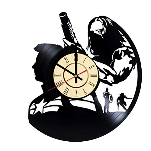 Bucky Barnes Vinyl Clock Gift for Marvel Comics Fans Wall Decor Winter Soldier Wall Art Living Room Artwork -  WallDecorGifts