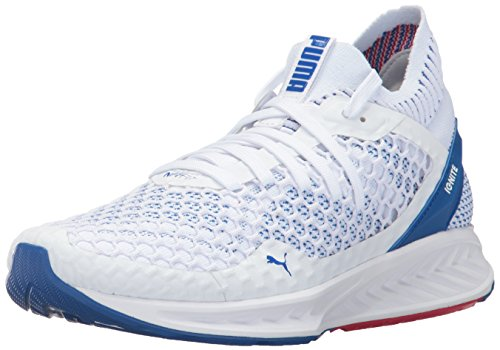 Puma Mens Ignite Netfit Cross Trainer Shoes  White Lapis Blue Toreador  9 M Us