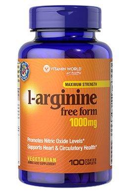 Vitamin World L-Arginine Free Form Maximum Strength 1000 mg, 100 Tablets