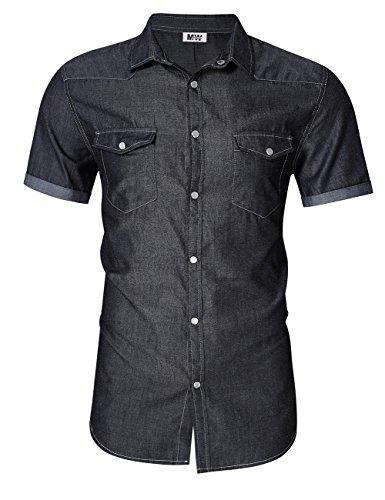 MrWonder Men's Casual Slim Fit Short Sleeve Button Down Dress Shirts Denim Shirt Western Grey XL