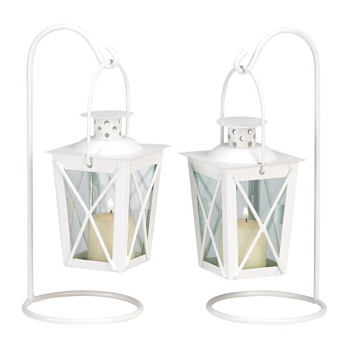 Gifts & Decor White Railroad Metal Cute Decorative Candle Lanterns
