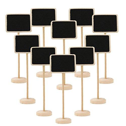 Lookatool 10 Piece Mini Chalkboard Stands / Signs with Stand, use for Weddings, Parties, Table Numbers or Place Cards (D)
