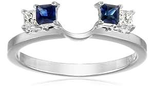 14k White Gold 1/6carat Princess Diamond and Blue Sapphire Solitaire Enhancer Wedding Band (Fits 1/2carat-1carat Round/Princess Solitaire), Size 7