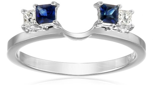 14k White Gold 1/6carat Princess Diamond and Blue Sapphire Solitaire Enhancer Wedding Band (Fits 1/2carat-1carat Round/Princess Solitaire), Size 7 by Amazon Collection