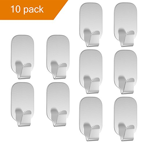Luxspire 10PACK Self Adhesive Hook Kitchen Bathroom Wall Door 304 Stainless Steel Stick Holder Hanger Brushed Finish