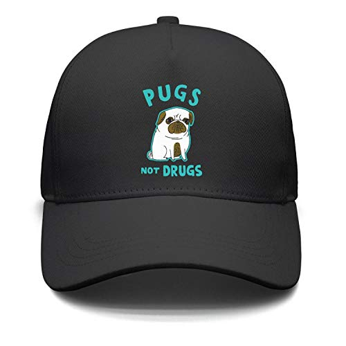 0d98cbe8d72 Xanx Smon Adjustable Snapback Pugs not Drugs Funny Cartoon Bulldog Unisex  Trucke.