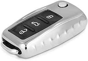 kwmobile Funda para Llave de 3 Botones para Coche VW Skoda Seat - Carcasa Suave de TPU para Llaves - Cover de Mando y Control de Auto en Plateado ...