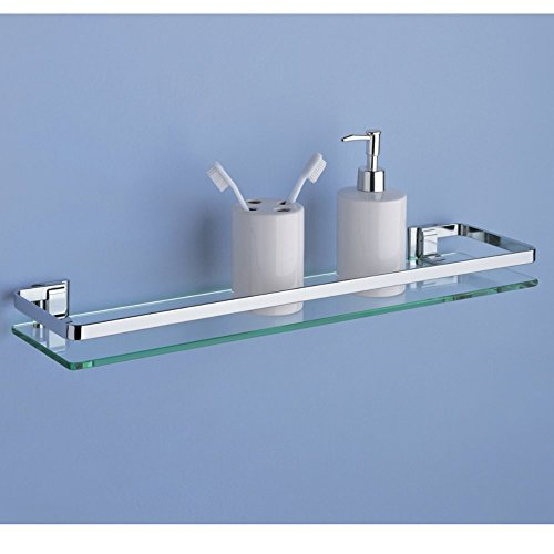 Glass Shelf with Chrome Finish and Rail