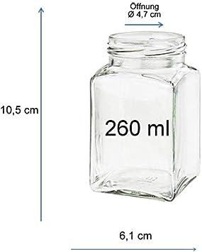 15 Unidades Capacidad de 50 ml Incluye Tapa de Color Plateado y Embudo de Color Amarillo Viva Haushaltswaren Tarros de Cristal para Mermelada de tama/ño Mini