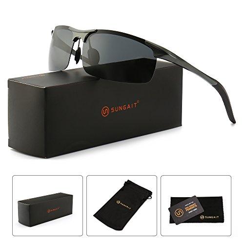 SUNGAIT Men's HD Polarized Sunglasses for Driving Fishing Cycling Running Metal Frame UV400 (Gunmetal, Gray)8177QKH -