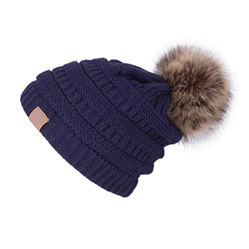 YJWAN Women Winter Pom Pom Beanie Hat Warm Fleece Lining Knit Faux Fur Slouchy Ski Cap