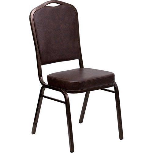 Flash Furniture HERCULES Series Crown Back Stacking Banquet Chair in Brown Vinyl - Copper Vein Frame