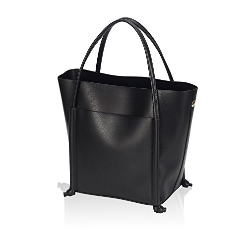 Embossed Front Pocket Tote Handbag (Hazlmay Medium Minimalist Handbag in Faux Leather Structure Tote Bag with Pouch)