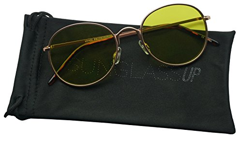 SunglassUP - Colorful Classic Vintage Round Flat Lens Lennon Style Sunglasses (Yellow, - Lenses Sunglasses Yellow