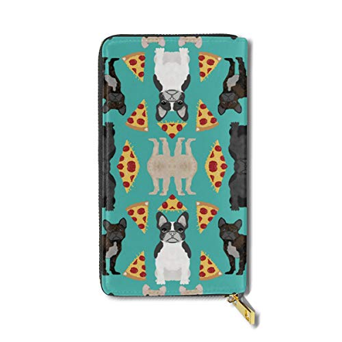 - NDJHSA French Bulldog Pizza Fabric Fawn, Brindle, Black A RFID Leather Credit Card Holder Case Clutch Bag Wallet Large Purses