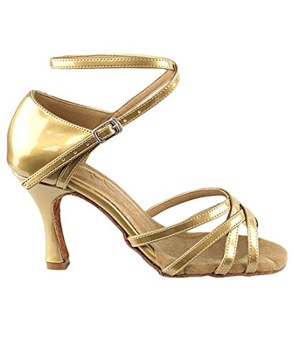 Veldig Fine Ballroom Latin Tango Salsa Dans Sko For Kvinner Sera1606 2,5 Tommers Hæl + Sammenleggbar Børste Bunt Pearl Gull