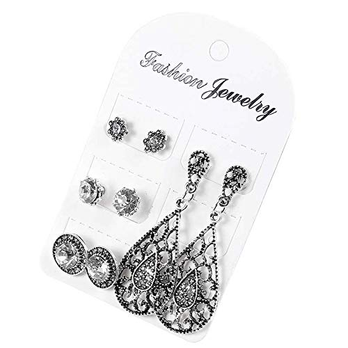 Womens 4Pair/Set Antique Water-drop Shaped Crystal Stud Earrings Gifts Jewelry