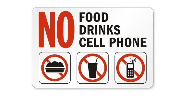 Amazon.com: No Food, No Bebidas, ningún signo Cell Phone ...