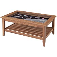 Manchester Wood Glass Top Display Coffee Table - Golden Oak