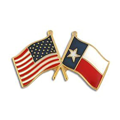 American Flag Texas State Flag Crossed Flags Lapel/Hat Pin (Texas Flag Lapel Pin)