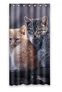 """Custom Design Eco-Friendly Animal Pet Grey Cute Black Yellow Cat Shower Curtains, 36""""(w) X 72""""(h), Polyester, Best For Relatives"""