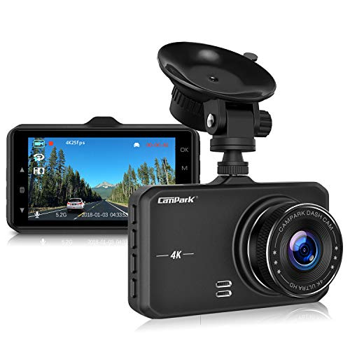 Campark Dash Cam 4K UHD DVR Driving Recorder Camera for Car Dashboard with 3