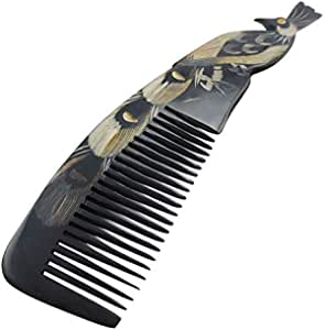 OX Horn Hand Carved Peacock Shape comb