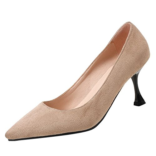 Carolbar Womens Pointed Toe Sexy Slip-On Kitten Heel Pumps Shoes Beige DcaZdE