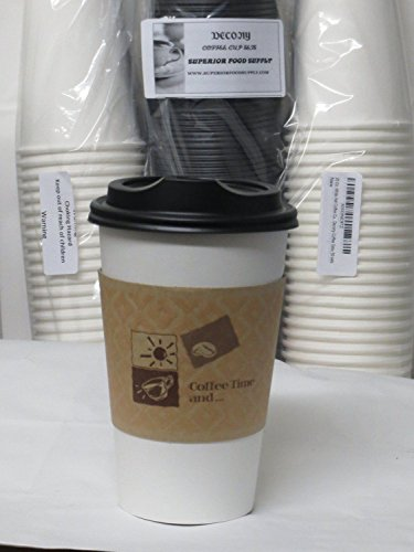 12 Oz. White paper Hot Coffee Cups With Lids And Sleeve-Decony coffe set- 50 sets