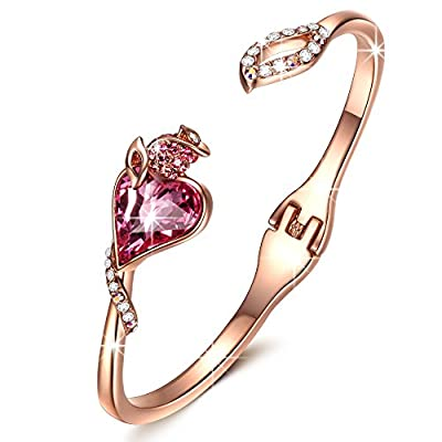 """QIANSE ?Valentine's Day Gift? """"Rose Lover"""" Rose Gold Bangle Bracelets Made with Swarovski Crystals, Promise of love!"""