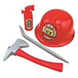 Boys' Fireman Costume Firefighter Role Play Toy, Hmane Hat Axe Crowbar Fire Extinguisher Set