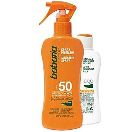 BABARIA pack protector solar spf 50 + bálsamo after sun calmante 100 ml: Amazon.es: Belleza