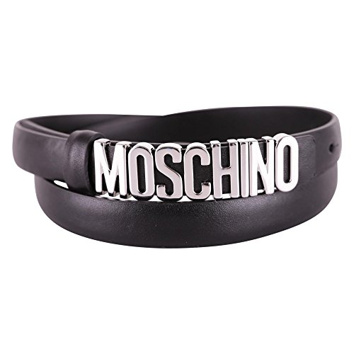 Moschino Women's A800880013555 Black Leather Belt by MOSCHINO