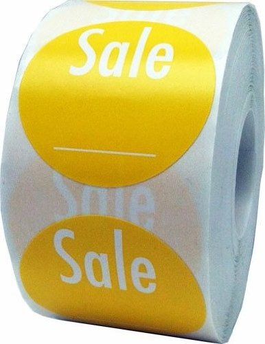 "Yellow Sale Labels with Write Your Own Price - Retail Stickers for Store Clearance Items - 1.5"" Round - 500 Total Stickers Per Roll"