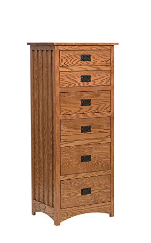 Amish Heirlooms Solid Maple Schwartz Mission Lingerie Chest with 6 Drawers, 18