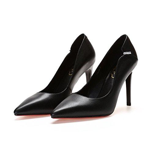 de Talons Robes pour Femmes Strass Cuir Talons Saisons Chaussures Aiguilles Travail Professionnel DKFJKI en Chaussures Black Quatre OwPx1qtOdp