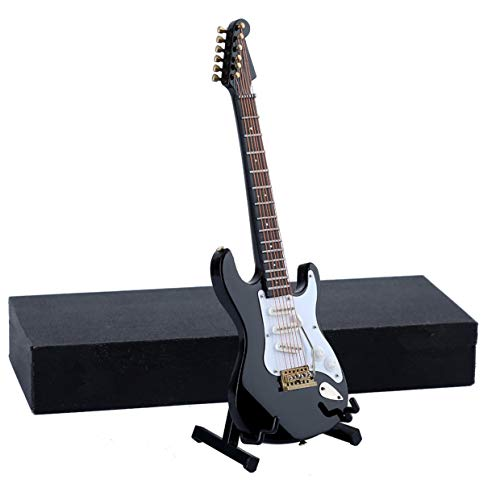 Seawoo Wooden Miniature Electric Guitar with Stand and