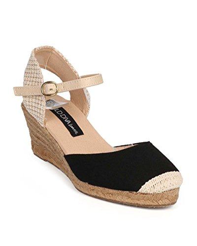 Wild Diva DH92 Women Canvas Cap Toe Kitten Heel Ankle Strap Espadrille Wedge - Black (Size: 7.5)