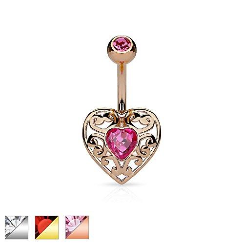 Amelia Fashion 14G Vintage Heart Rose Gold/Pink Navel Ring 316L Surgical Steel (Rose Gold & (Vintage Rose Button)