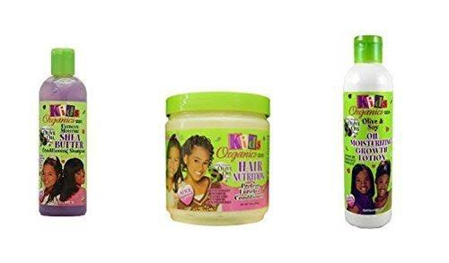 kids Organics Reinigen, Verhältnisse und Wachsen TRIO Set von produkte für kinder (shampoo, haarspülung und wachstum lotion)