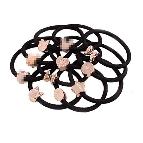 Casualfashion 20Pcs New Korean Fashion Women Hair Accessories Cute Black Elastic Hair Bands Girls Hairband Hair Rope Rubber Band
