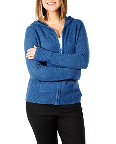 Full Cardigan Hooded Zip (Gigi Reaume 100% Cashmere Zip Front Cardigan Hoodie Sweater (Medium, Teal))