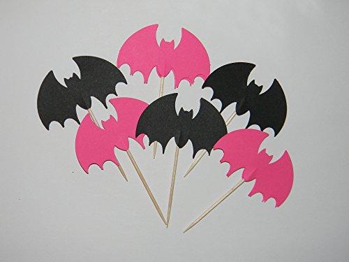 Set of 24 bat batgirl inspired cupcake toppers birthday halloween party (Halloween Inspired Cupcakes)